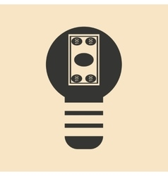 Flat black and white dollar in light bulb vector