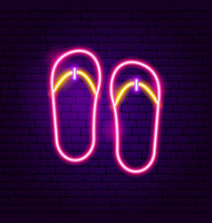 flip flops neon label vector image