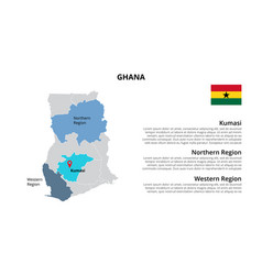 Ghana map infographic template divided by vector