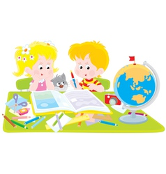 Girl and boy with a scrapbook vector