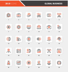 Global business flat line web icon concepts vector