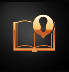 Gold interesting facts icon isolated on black vector