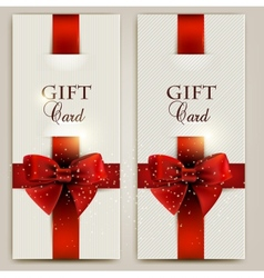 Gorgeous gift cards with red bows and copy space vector image