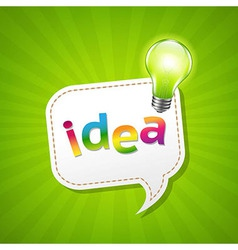 Green Sunburst Poster And Speech Bubble And Lamp vector