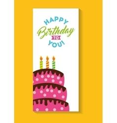 Happy birthday celebration card with cake vector