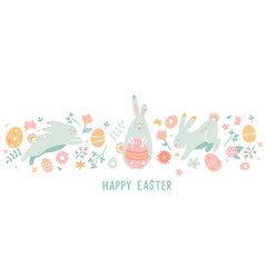 happy easter greeting horizontal card banner vector image