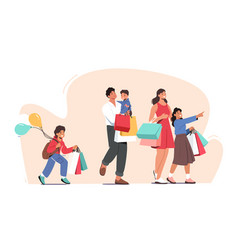 happy family shopping father mother and little vector image