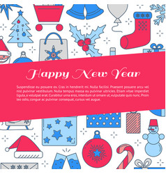 Happy new year banner template with place for text vector