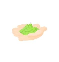 Hop cones in hands icon cartoon style vector