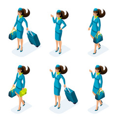 Isometry a set of girls of the stewardesses vector