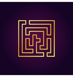 Labyrinth abstract gold icon vector image
