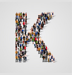 large group of people in letter k form vector image