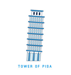 line art leaning tower pisa italy european vector image