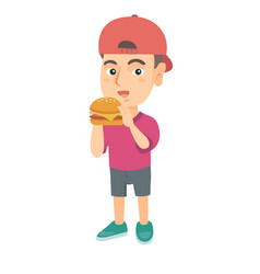 Little caucasian boy eating a hamburger vector