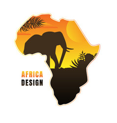map africa with black silhouette elephant vector image