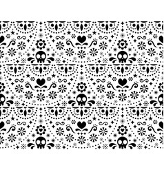 Mexican folk art seamless pattern with skul vector