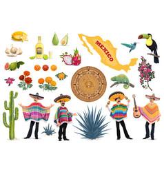 Mexican food culture and travel symbol set vector