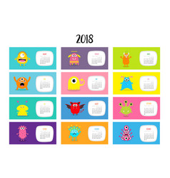 monster horizontal monthly calendar 2018 cute vector image