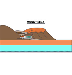 mount etna line travel landmark skyline vector image