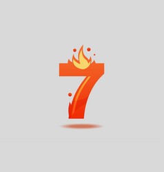 number seven with red flames and sparks vector image