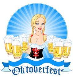oktoberfest girl serving beer vector image