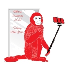 ornamental Christmas monkey with selfie vector image