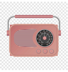 pink retro radio mockup realistic style vector image