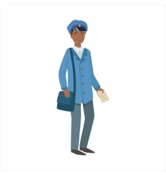 Postman with handbag part of happy people and vector