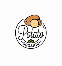 potato vegetable logo round linear potatos vector image