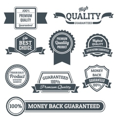 Quality labels black set vector image