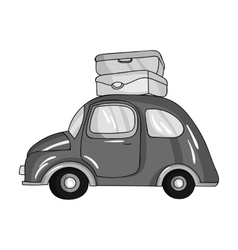 Red car with a luggage on the roof icon in vector image
