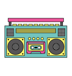 Retro stereo cassette player music recorder vector