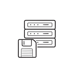 server with floppy disk hand drawn outline doodle vector image