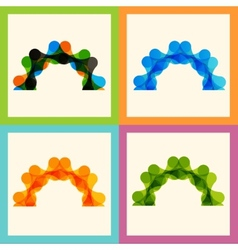 Set color molecule pattern eps vector