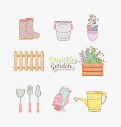 set ganden utensils with bird and flowers plants vector image