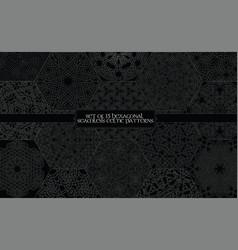 set of 15 hexagonal celtic seamless line patterns vector image