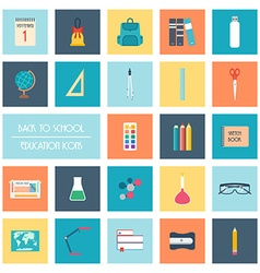 Set of back to school icons Flat design vector image
