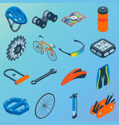Set of bicycle parts isolated isometric vector