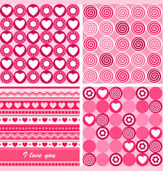 Set of four pink Valentines Day backgrounds vector image