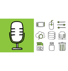 set of it technology doodle icons vector image