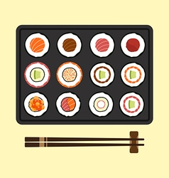 Set of sushi rolls flat design vector image