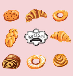 set of sweet pastries and cupcakes icons vector image
