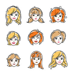 set of women faces human heads different vector image