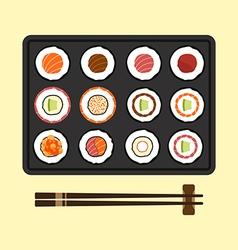set sushi rolls flat design vector image