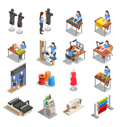 sewing factory isometric icons set vector image