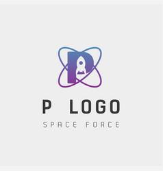 Space force logo design p initial galaxy rocket vector