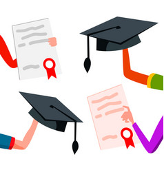 student hands raised up with graduation caps and vector image
