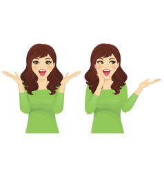 Surprised woman set vector