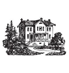 Swiss villa vintage vector