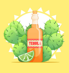 Tequila bottle with lime and cactus vector